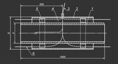 Промежуточный элемент трубопровода в ППУ изоляции