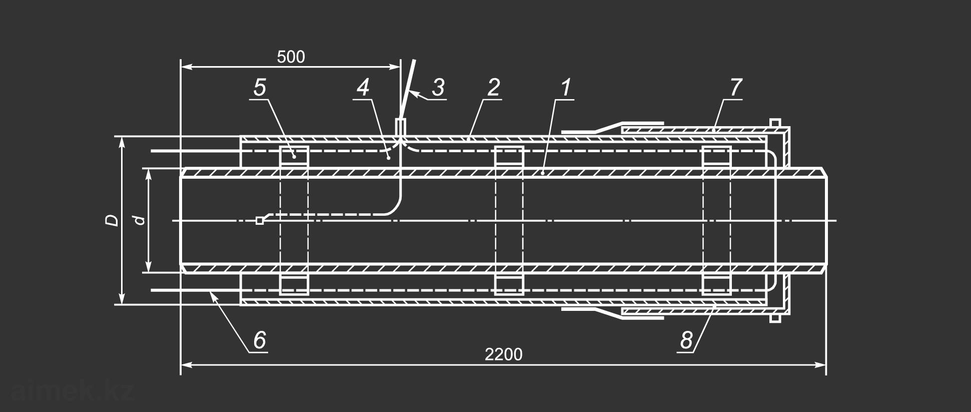 Чертеж концевого элемента трубопровода с кабелем вывода